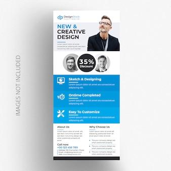 Modello di volantino dl blu creative business