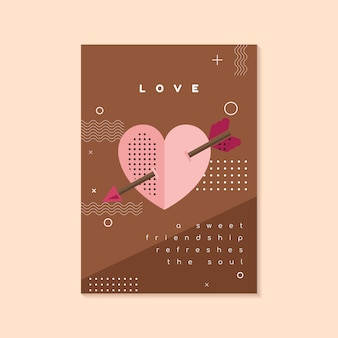 Modello di volantino e carta di san valentino