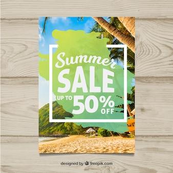 Modello di volantino estate vendita moderna con immagine