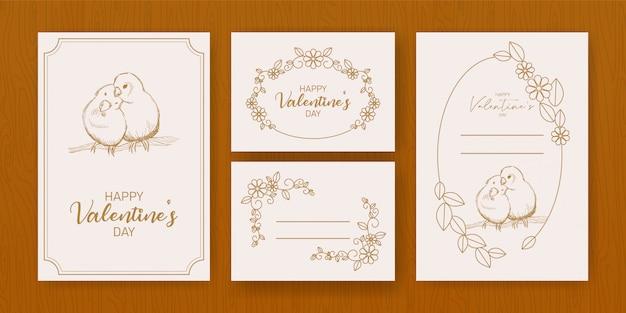 Modello di volantino felice giorno di san valentino con scritte disegnate a mano
