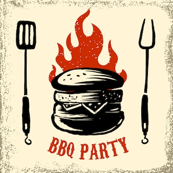 Modello di volantino festa barbecue. griglia, fuoco, carne alla griglia, birra, utensili da macellaio. elementi per poster, menu del ristorante. illustrazione