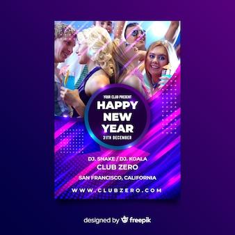 Modello di volantino festa del nuovo anno 2020 con immagine