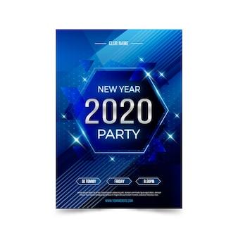 Modello di volantino festa di capodanno 2020 in design piatto