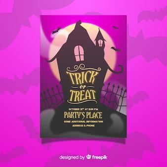 Modello di volantino festa di halloween casa stregata