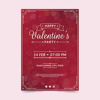 Modello di volantino festa di san valentino in design piatto