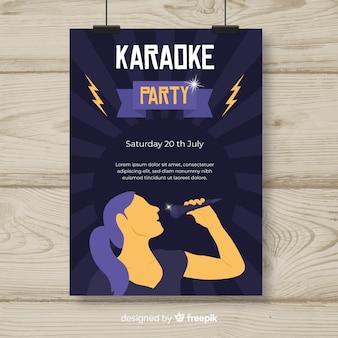 Modello di volantino festa notturna karaoke