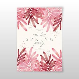 Modello di volantino festa primavera dell'acquerello