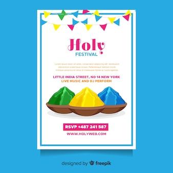 Modello di volantino festival piatto holi
