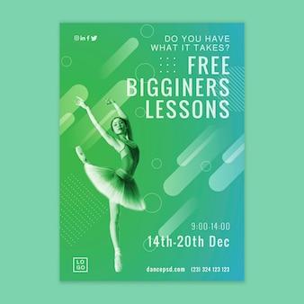 Modello di volantino gratuito per lezioni di ballo per principianti