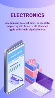 Modello di volantino isometrico negozio online di gadget