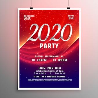 Modello di volantino o poster del nuovo anno 2020