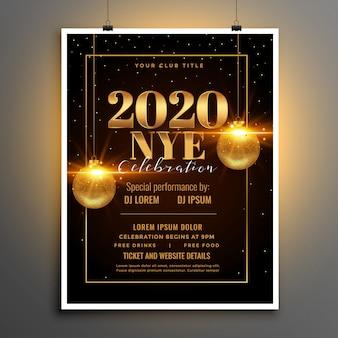 Modello di volantino o poster del partito di vigilia di felice anno nuovo 2020