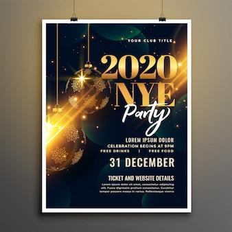 Modello di volantino o poster dorato e nero di felice anno nuovo