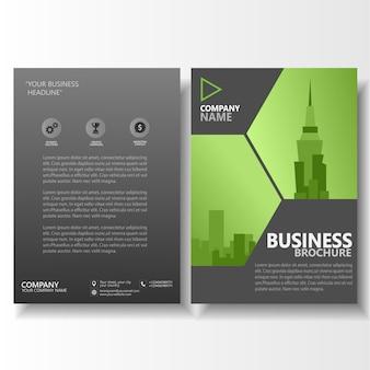 Modello di volantino opuscolo di affari verde al neon