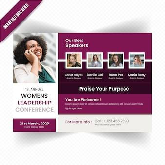 Modello di volantino orizzontale di conferenza di leadership delle donne