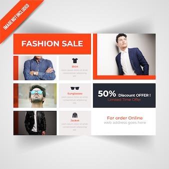 Modello di volantino orizzontale di vendita di moda