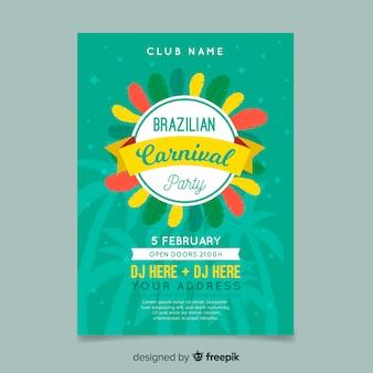 Modello di volantino partito carnevale brasiliano