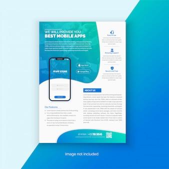Modello di volantino per app mobile