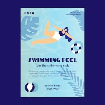 Modello di volantino per club di piscina