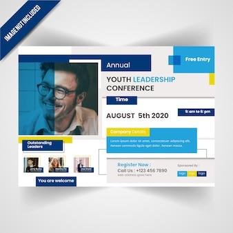 Modello di volantino per conferencing di leadership dei giovani
