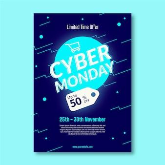 Modello di volantino piatto cyber lunedì