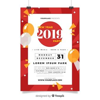 Modello di volantino piatto nuovo anno 2019