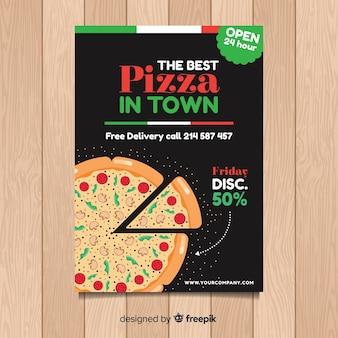 Modello di volantino pizza piatta