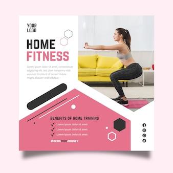 Modello di volantino quadrato fitness domestico