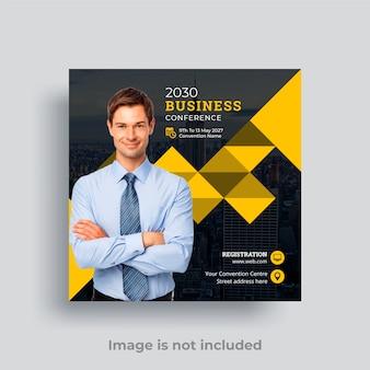 Modello di volantino quadrato post di social media conferenza d'affari