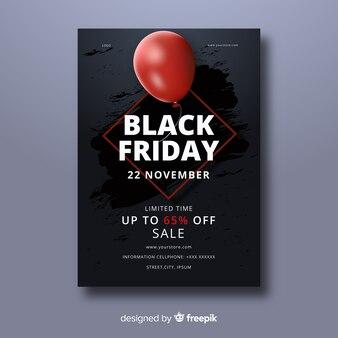 Modello di volantino realistico venerdì nero