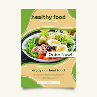 Modello di volantino ristorante cibo sano con foto
