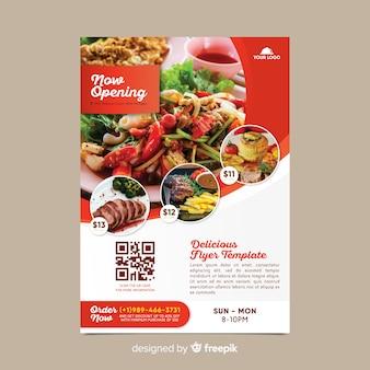 Modello di volantino ristorante con foto