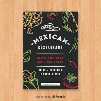 Modello di volantino ristorante moderno messicano