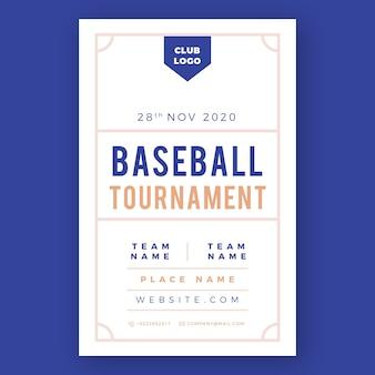 Modello di volantino sport torneo di baseball