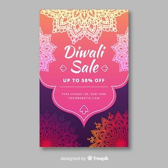 Modello di volantino vendita diwali disegnati a mano