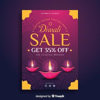 Modello di volantino vendita diwali in design piatto