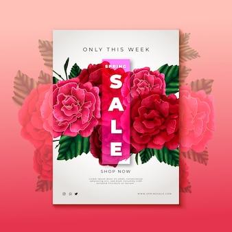 Modello di volantino vendita fiori rosa disegnati a mano
