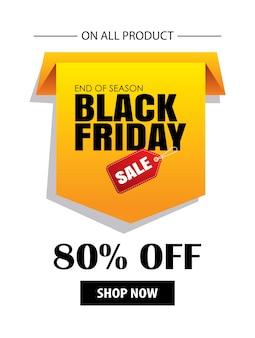 Modello di volantino vendita nero venerdì con etichetta gialla