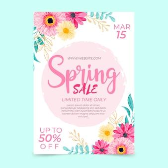 Modello di volantino vendita primavera dell'acquerello
