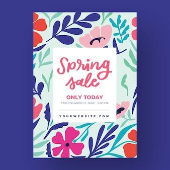 Modello di volantino vendita primavera disegnata a mano