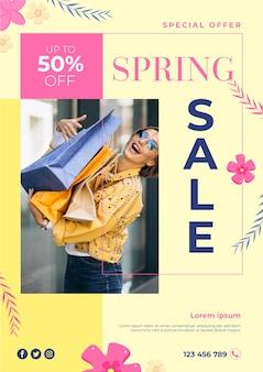 Modello di volantino vendita primavera promozionale