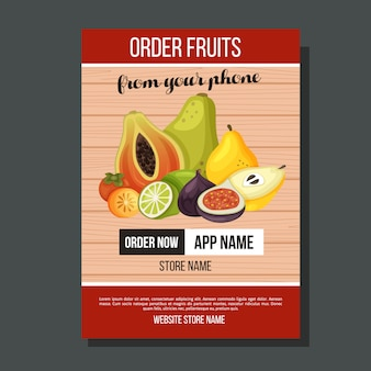 Modello di volatile esotica di frutta