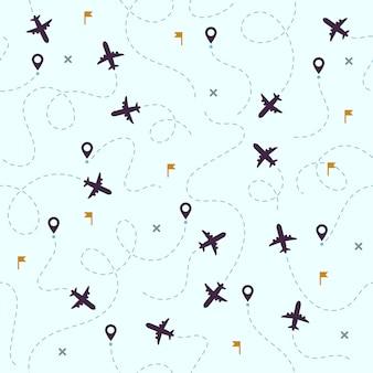 Modello di voli dell'aeroplano. viaggi in aereo, rotte aviarie e aviazione senza soluzione di continuità