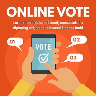 Modello di voto dello smartphone online, stile piano