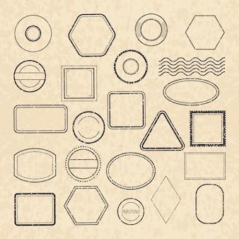 Modello di vuoto francobolli postali d'epoca per la progettazione di etichette