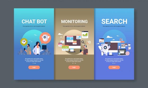 Modello di web design impostato per il monitoraggio dei bot di chat e la ricerca di concetti diversi raccolta aziendale