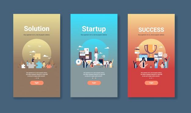 Modello di web design impostato per l'avvio della soluzione e concetti di successo raccolta di affari diversi