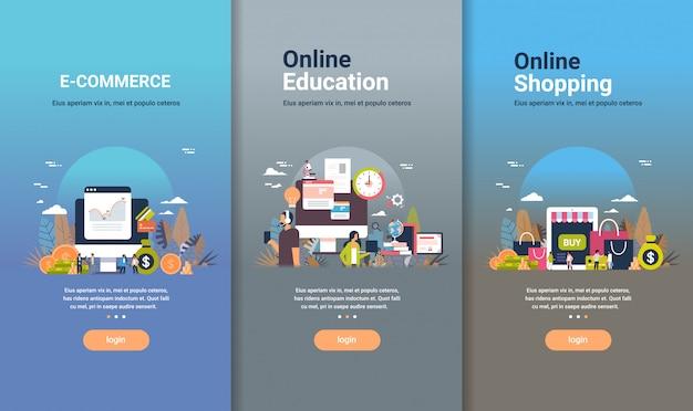 Modello di web design impostato per l'educazione online e-commerce e concetti di shopping online diverse attività di raccolta