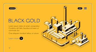 Modello di web o insegna del nero dell'oro con la linea arte della pianta della raffineria di petrolio