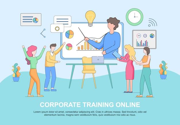 Modello di web orizzontale online di formazione aziendale con spazio di copia